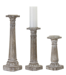 "Candle Holder (Set of 3) 11""H, 16""H, 21""H Resin/Stone Powder"