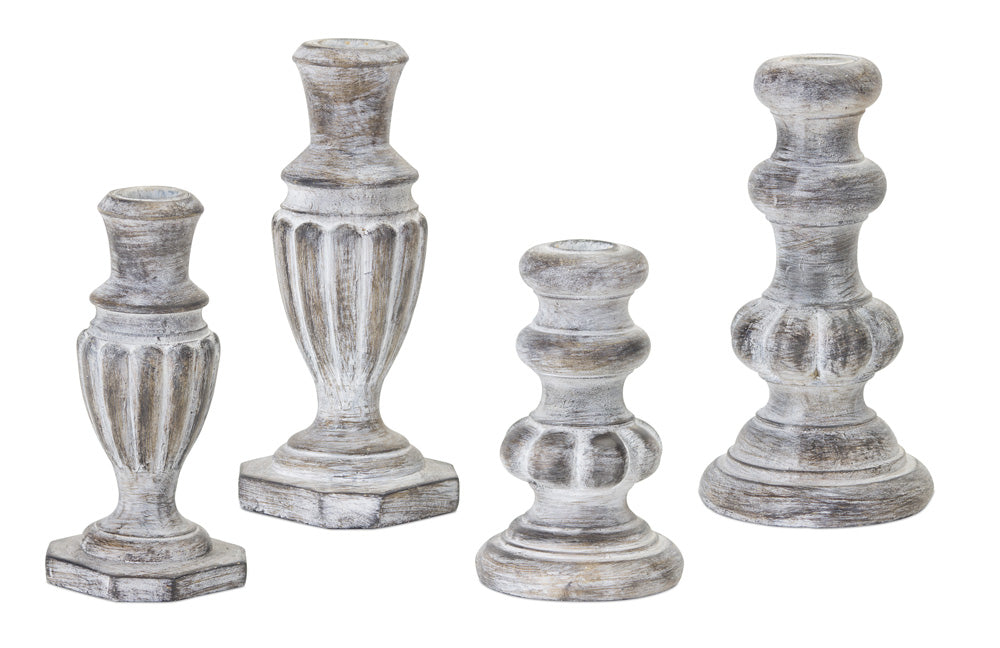 "Candle Holder (Set of 4) 5.75""H, 6.5""H, 7.5""H, 7.5""H Resin/Stone Powder"