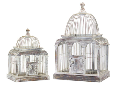 "Bird Cage (Set of 2) 13.25"" x 19.5""H, 17.25"" x 27.25""H Wood/Iron"