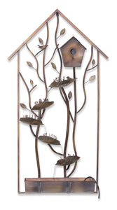 "Bird House Wall Fountain 26.25""W x 50.25""H Iron"