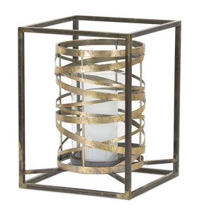 "Candle Holder 13.25""H Metal/Glass"