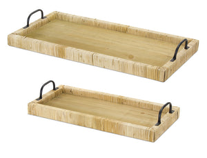 "Tray (Set of 2) 20""L, 45.5""L Wood/Rattan"