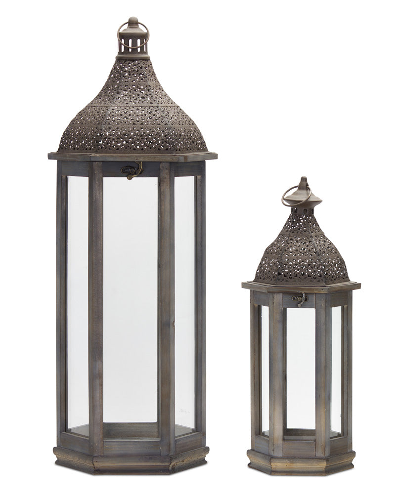 "Lantern (Set of 2) 21""H, 31""H Iron/Wood"