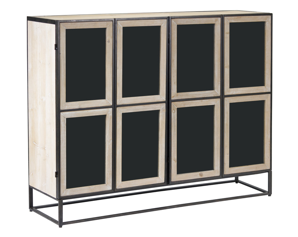 "Cabinet 47.25""Lx13.5""W 37.5""H Iron/Glass/Fir Wood/MDF"