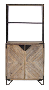 "Cabinet/Shelving 31.5""Lx15.75""Wx67.5""H MDF/Fir Wood/Iron"