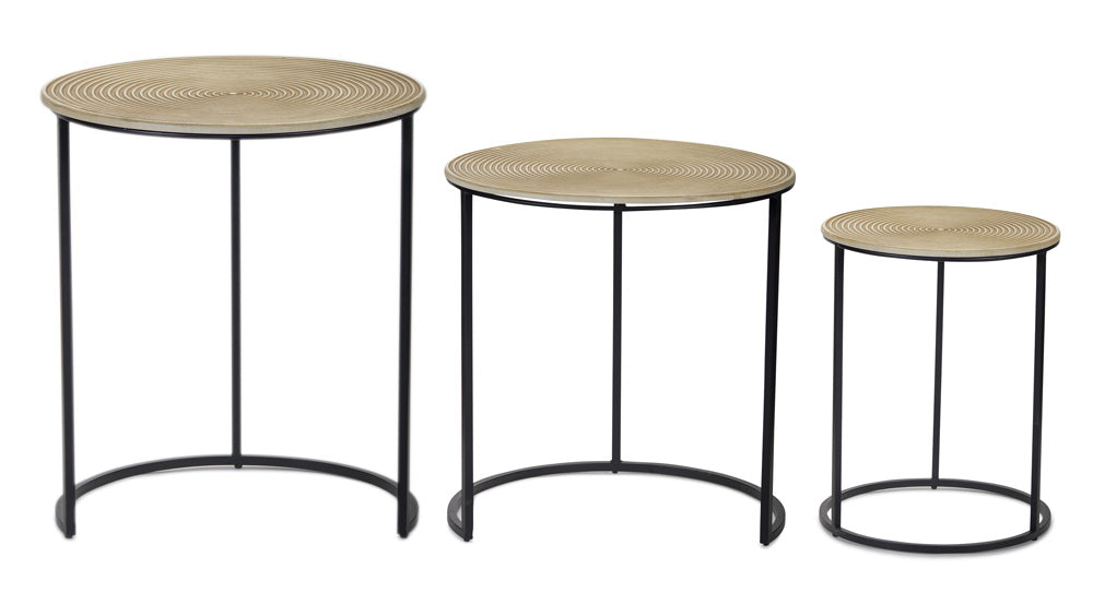 "Accent Table (Set of 3) 20""H, 22""H, 24.25""H MDF/Iron"