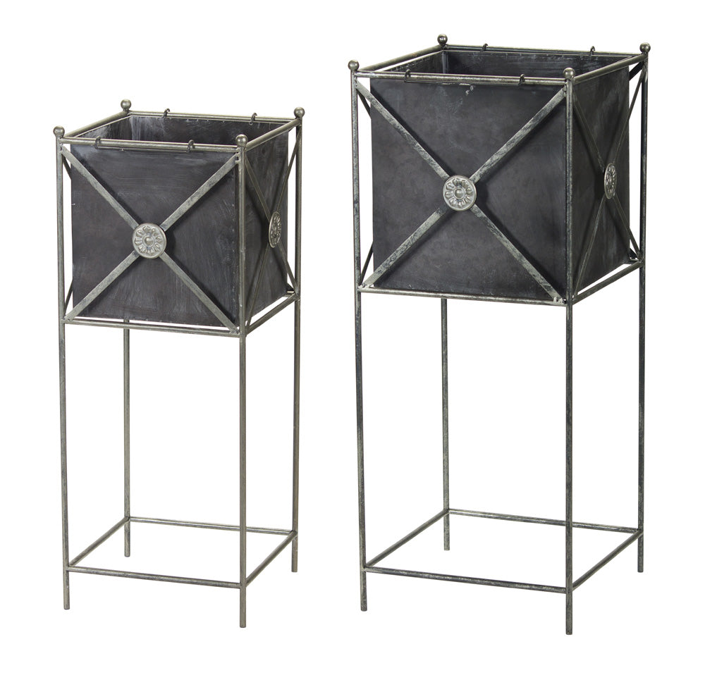 "Planter (Set of 2) 11"" x 28""H, 13"" x 32""H Metal"