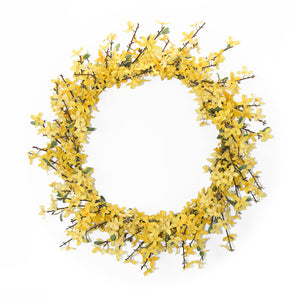 "Forsythia Wreath 25.5""D Polyester"