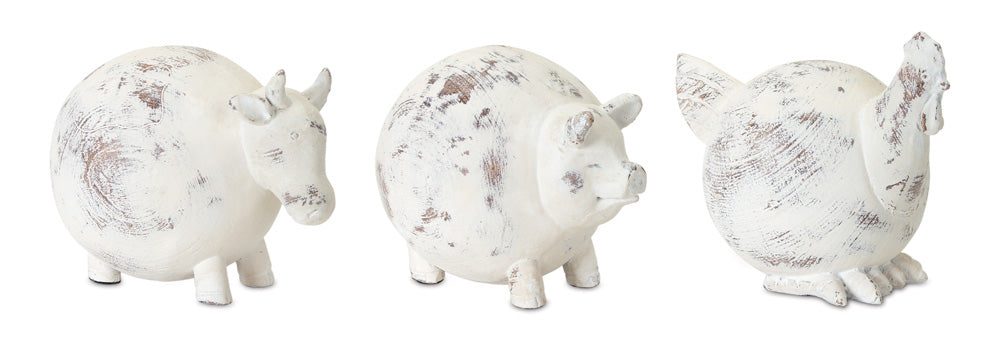 "Farm Animal (Set of 3) 4.5""H Resin/Stone Powder"