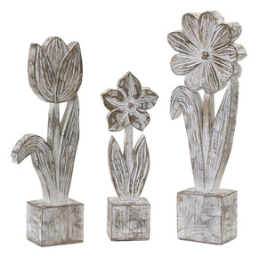 "Potted Floral (Set of 3) 10.5""H, 12.75""H, 14.25""H Resin/Stone Powder"