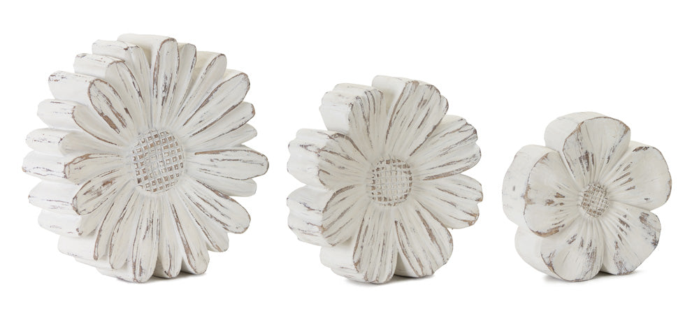 "Flower (Set of 3)5""H, 6""H, 7""H Resin/Stone Powder"