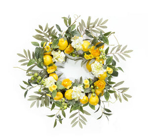 "Lemon/Floral Wreath 22""D Foam/Plastic"