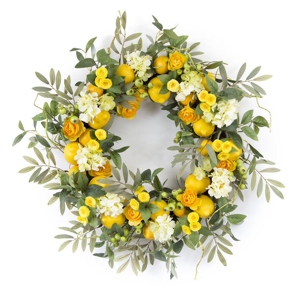 "Lemon/Floral Wreath 28""D Foam/Plastic"