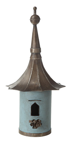 "15-1/2""L x 34""H Decorative Metal Birdhouse, Aqua"