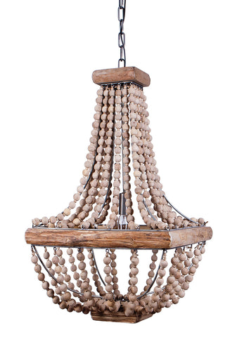 "16-1/2"" Square x 28""H Metal Chandelier w/ Wood Beads, 2' Chain & 6' Cord (40 Watt Bulb Maximum, Hardwire Only)"