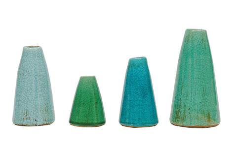 "8"", 6-1/2"", 5-1/2"" & 4""H Terra-cotta Vases, Aqua Colors, Set of 4"