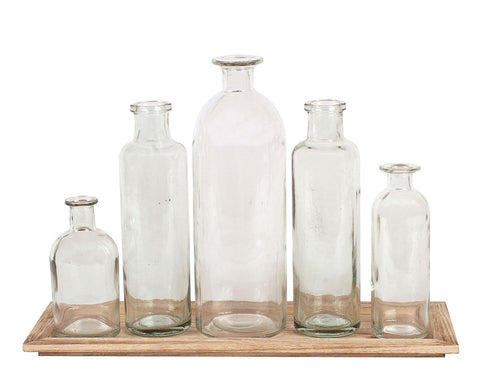 "15-3/4""L x 5-1/2""W x 8-1/2""H Wood Tray w/ 5 Glass Bottle Vases, Set of 6, Truck Ship"