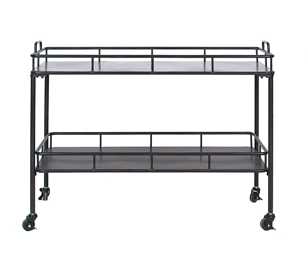 "40""W x 14-3/4""D x 30""H Metal 2-Tier Cart on Casters, Black, KD, Truck Ship"