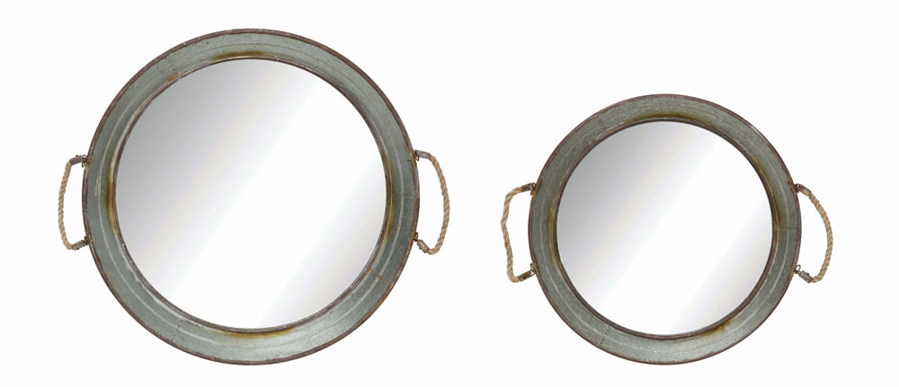 "30"" Round & 24"" Round Metal Framed Wall Mirrors w/ Rope Handles, Set of 2, Truck Ship"
