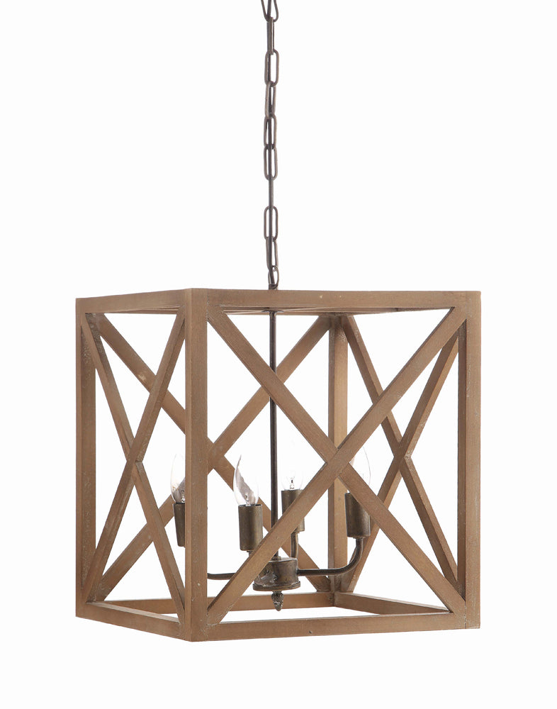 "15-3/4"" Square x 17-3/4""H Metal & Wood Chandelier, 3' Chain & 6' Cord (25 Watt Bulb Maximum, Hardwire Only)"