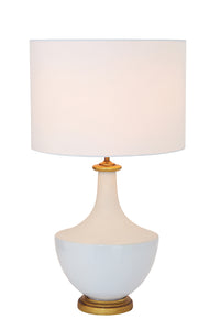 "16"" Round x 27""H Ceramic Table Lamp w/ Linen Shade, Cream Color, Truck Ship (100 Watt Bulb Maximum)"
