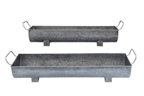 "32""L x 9-1/2""W x 5-1/2""H & 25""L x 7-1/2""W x 5""H Metal Trough Planters w/ Handles, Zinc Finish, Set of 2"