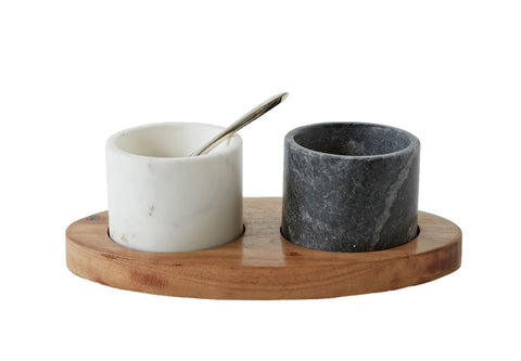 "8""L x 4-1/4""W Mango Wood Tray w/ 2 Marble Bowls w/ Brass Spoon, White & Black, Set of 4"