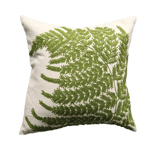"20"" Square Cotton Pillow w/ Fern Fronds Embroidery"