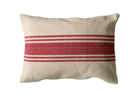 "20""L x 14""H Cotton Canvas Pillow w/ Stripes, Red"