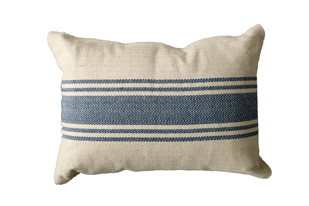 "20""L x 14""H Cotton Canvas Pillow w/ Stripes, Blue"