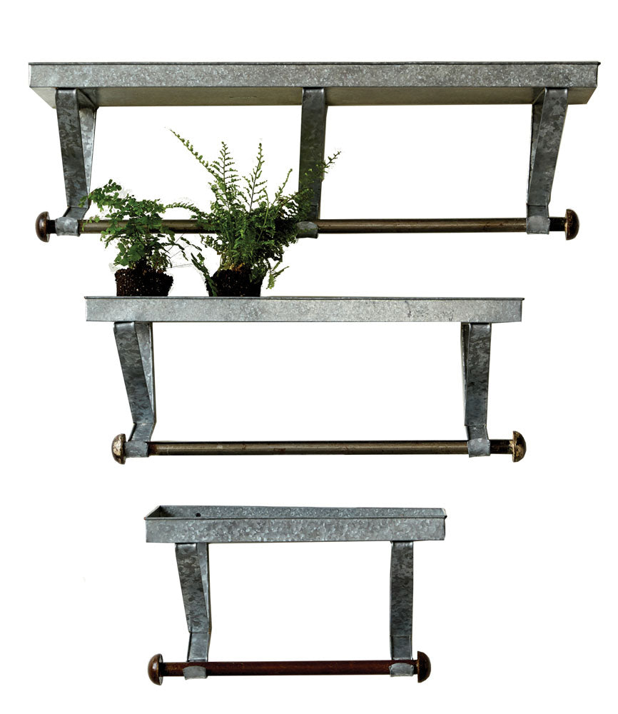 "38""W x 11-1/2""H, 23""W x 9""H & 20""W x 9""H Galvanized Metal Wall Racks w/ Shelf & Rod, Set of 3, Truck Ship"