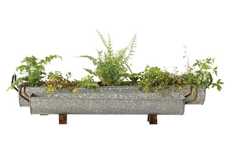 "35""L x 6-1/4""W & 27""L x 5-1/4""W Decorative Galvanized Metal Footed Troughs w/ Handles, Set of 2"