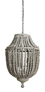 "17-1/2"" Round x 27-1/4""H Wood Bead & Metal Chandelier w/ 2 Lights, 3' Chain & 5' Cord, Grey (40 Watt Bulb Maximum, Hardwire Only)"