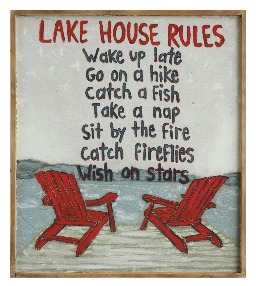 "31-3/4""W x 28""H Wood Framed Canvas Wall Décor ""Lake House Rules..."" ©"