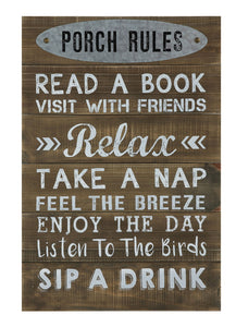 "16-1/2""W x 24""H Wood Wall Décor ""Porch Rules"""