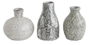 "3-3/4"" Round x 6-1/4""H Terra-cotta Vases, Distressed Grey Colors, Set of 3 (Each One Will Vary)"