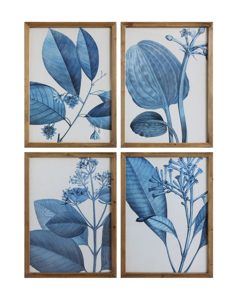 "20-1/2""W x 28-1/4""H Wood Framed Blue Botanical Wall Décor, 4 Styles, Truck Ship"