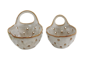 "8""L Stoneware Colanders w/ Handle, Reactive Glaze, Cream Color, Set of 2 (Each One Will Vary)"