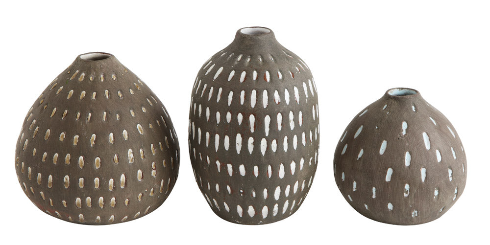 "5-1/2""H, 4-3/4""H & 3-3/4""H Terra-cotta Vases, Glazed w/ Hand-Painted Lines, Set of 3"
