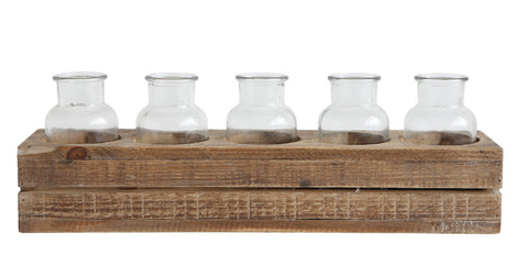 "17""L x 3-3/4""W x 5-1/2""H Wood Crate w/ 5 Glass Bottles, Set of 6"