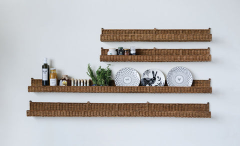 "36""W x 4""D Hand-Woven Rattan Wall Ledge"