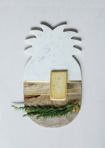 "16""L x 9""W Marble & Mango Wood Pineapple Cheese/Cutting Board"