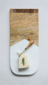 "17-1/2""L x 7-1/2""W Marble & Mango Wood Cheese/Cutting Board w/ Canape Knife, Set of 2"