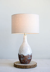 "5""L x 8""W x 28""H Ceramic Table Lamp w/ Linen Shade, Reactive Glaze, White (60 Watt Bulb Maximum) (Each One Will Vary)"