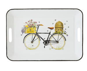 "16-1/4""L x 11-1/4""W Enameled Tray w/ Handles, Bees & Bicycle ©"