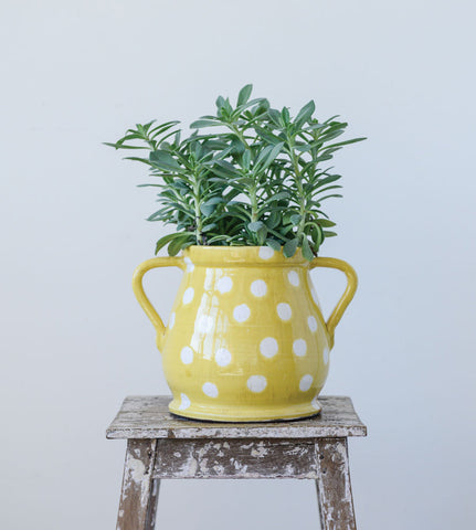 "11""L x 8-1/4""W x 8-1/4""H Decorative Terra-cotta Planter, Yellow w/ White Dots, Distressed Finish, Truck Ship"