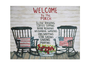 "23-1/2""W x 18""H Metal Wall Décor ""Welcome to the Porch…""©"