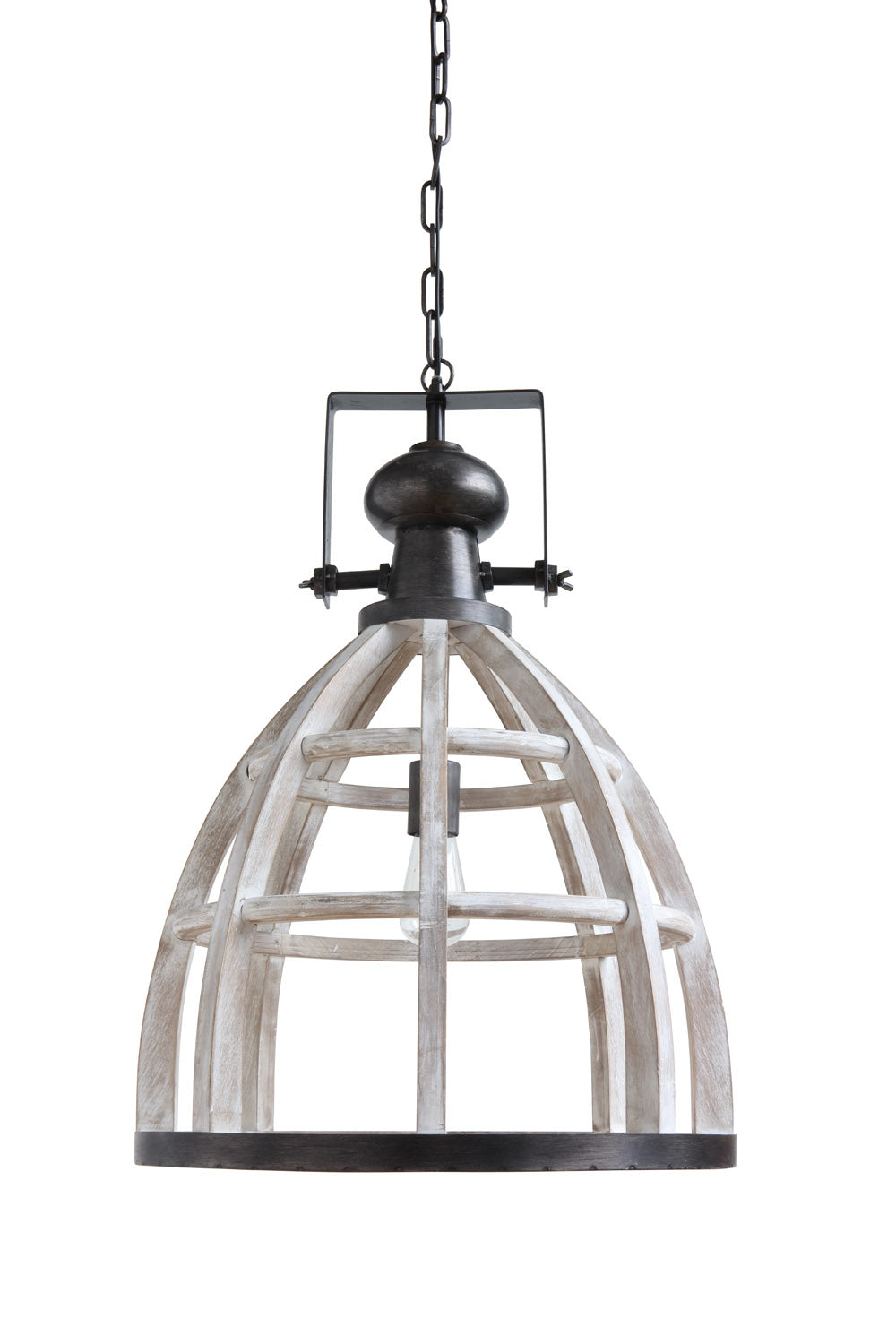 "18-3/4"" Round x 28""H Wood & Metal Pendant Lamp, 6' Chain & 10' Cord (40 Watt Bulb Maximum, Hardwire Only)"