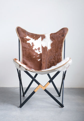 "26""W x 28""D x 36""H Cow Hide & Metal Foldable Butterfly Chair (Each One Will Vary)"