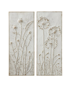 "14-1/4""W x 36-1/4""H Metal Wall Décor w/ Embossed Flowers, Distressed White Finish, 2 Styles"